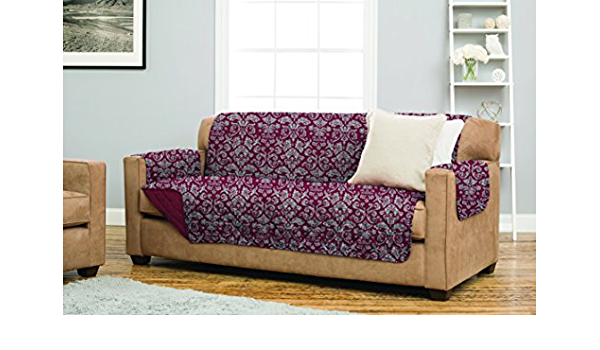 Home Fashion Designs Katrina Collection Stain Resistant Printed Furniture Cover 35560 Chair, Burgundy//Grey