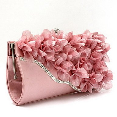 Frauen Abend Tasche Chiffon alle Jahreszeiten Hochzeit Event / Party Shopping Casual Formal Baguette Blume Spange LockBlack Silber Fuchsia Ruby Blushing Pink