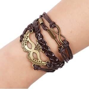 UK-S-DESIGN Original en cuir Motif DIY Bracelet Femme-Flèche-Masque Bronze Infinity Bracelet homme Bracelet Bracelet creux avec monogramme