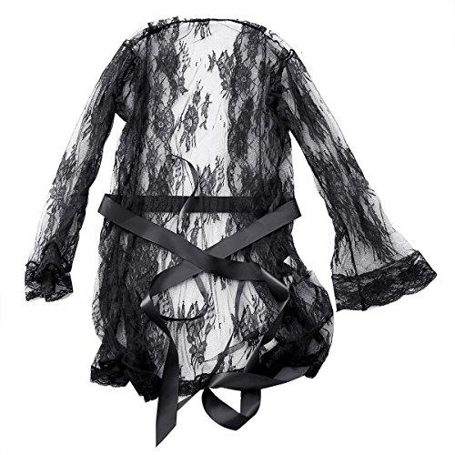 iiniim Damen Nachtkleid Blumen-Spitze Negligee Nachthemd Reizwäsche Babydolls Kimono Dessous Set mit G-string M-XXL Schwarz