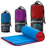 Fit-Flip Blau mit roten Rand, 1x 200x100cm | Handtuch microfaser Sport Handtuch microfaser 200 x 100