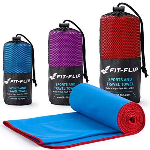 Fit-Flip Blau mit roten Rand, 1x 200x100cm   Handtuch microfaser Sport Handtuch microfaser 200 x 100