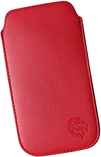 Ein Für Handy-hülle Galaxy S4 (Schutz-Tasche passend fuer Samsung Galaxy S2, S3 und S4, Pull-tab Handy-Huelle herausziehbar, Etui genaeht mit Rausziehband, duenne Tasche mit exklusivem Motiv Adler ML Rot)