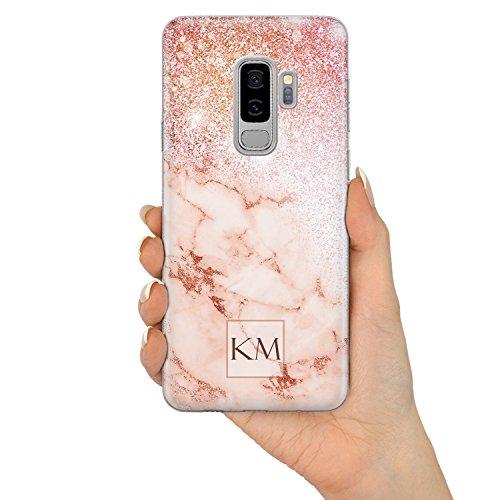 Rose Gold Marmor & Glitter Effekt Personalisiert Name Initialen Monogramm Text Brauch Custom Schutzhülle aus Hartplastik Handy Hülle für Samsung Galaxy - Design V3 - für Samsung Galaxy A5 (2017) V3 Glitter