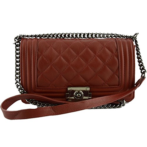 Borsa Donna In Pelle Trapuntata E Tracolla In Pelle E Catena Colore Rosso - Pelletteria Toscana Made In Italy - Borsa Donna