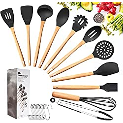 Tatufy Kit ustensiles de Cuisine 12pcs Set Ustensiles de Cuisine Non Toxique Silicone, Bambou en Bois Poignées,Pinces de Tournage spatule cuillère