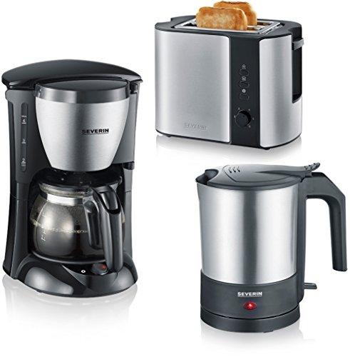 Severin WK 3364 Wasserkocher (1800 W, 1,5 l) + Severin KA 4805 Kaffeeautomat (650 W, 0,46 L) gebürstet + Severin AT 2589 Toaster (800 W, 0,1 L) edelstahl/schwarz