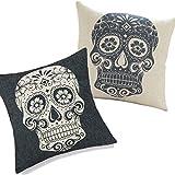 DreammadeStudio Set of 2 Retro Floral Skull Decorative Throw Pillow Cover Cushion Case