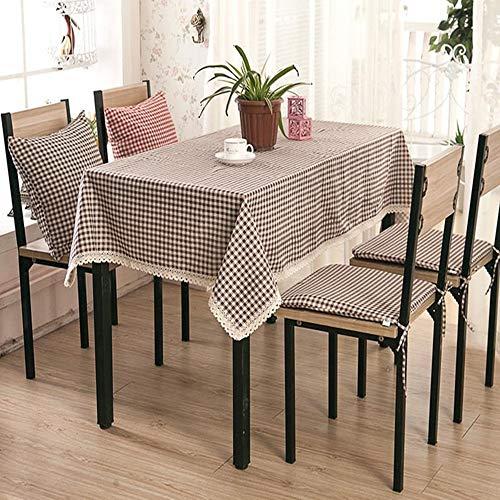 EICKAWA Tischdecke Plaid Einfache Stil Verdickung Gitter Tischdecke Abdeckung Mit Spitze Dekoration Rand Haushalt für Küche(Brown/140 * 160)