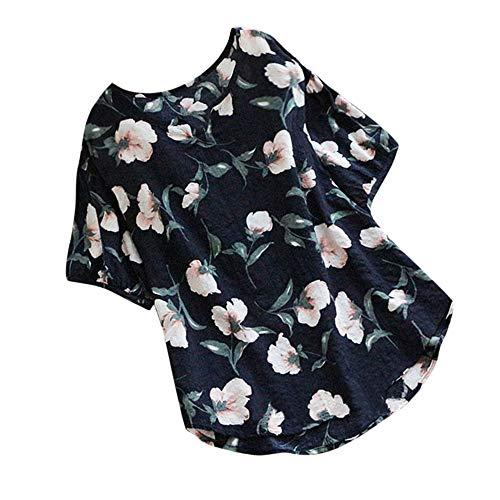 MRULIC Damen Fledermaus Hemd Lässig locker Top Dünnschnitt Bluse T-Shirt(T-Marineblau,EU-50/CN-5XL)