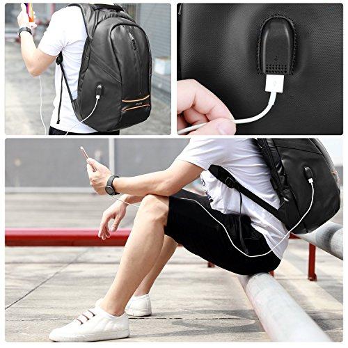 Mochila hombre con USB para Portátil, SPARIN Backpack Laptop 15,6 Pulgadas con [Puerto USB] Mochila Negocio [Anti-Robo] [IPX-4 Resistente al Agua] [Multifuncional] [Alta capacidad] Negra