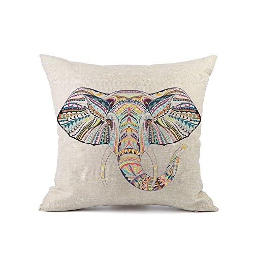 Redland Art Vistoso Étnico Elefante Patrón Algodón Lino sofá Fundas Cojines Almohada Caso Amortiguar Cubrir Casa Decoración Regalos 40x40cm