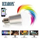 LED Bluetooth Lampe E27 RGB. Das farbige Leuchtmittel wird über Android und Iphone App Handy Fernbedienung gesteuert. Das bunte Stimmungslicht ersetzt eine 50Watt Glühbirne mit 500 Lumen. Die Smart-Light Licht Birne mit Lichtwecker. Die farb leuchte.
