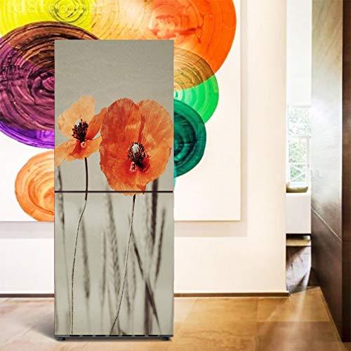 JY ART Réfrigérateur Papier Décoration DIY Coquelicot 3D Étanche Réfrigérateur Autocollants Cuisine Stickers Muraux, 60 * 180cm