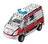 Tronico 10043 - Metallbaukasten Krankenwagen Mercedes Benz Sprinter mit Licht und Sound, Maßstab 1:32, Mini Serie, rot, 508 Teile