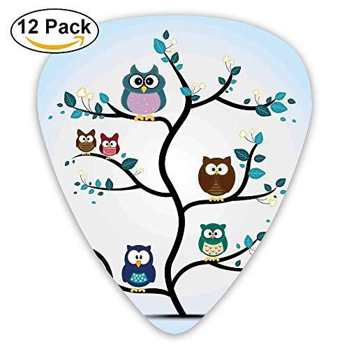 Gitarrenplektren mit Eulenfamilie auf einem Baum (englischsprachig), Nachtaktie, Tiere in der Natur, 12 Stück