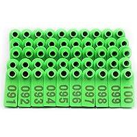 Farm & Ranch Etiquetas de Oreja de Oveja Etiquetas de Oreja de Ganado de plástico Verde para Cabra Cordero con número 001-100