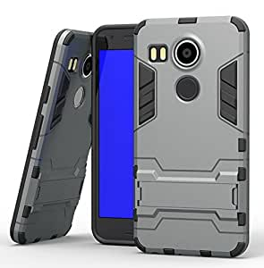 SPL Ironman Stand TPU+PC Hybird Armor Protective Back Case Cover for LG Nexus 5X -Grey