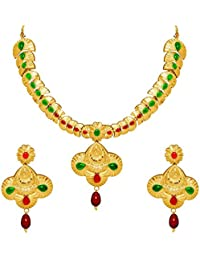 MFJ Fashion Jewellery Traditonal Collection Gold Plated Necklace Set For Women