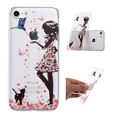 Custodia iPhone 7 ,JIENI Cover ali ragazza Silicone Trasparente TPU Flessibile Sottile Protezione Bumper Case per Apple iPhone 7 WM49
