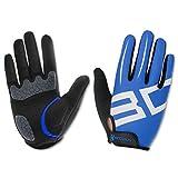 Cycling Gloves Lycra & Anti-Slip Shock Absorbing - Silica Gel Grip Mountain Road Racing Biking Gloves - Full Fingers Sports Outdoor Gloves Men/Women (Blue, XL)