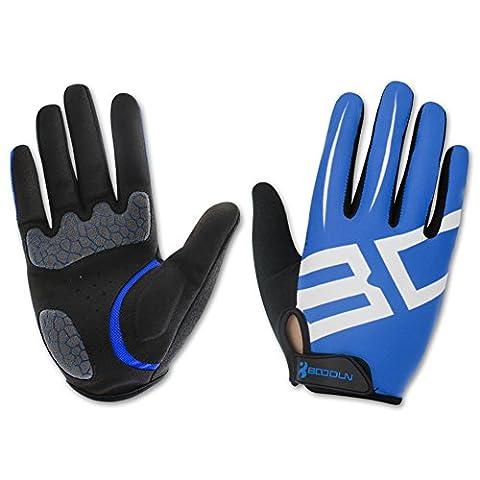Cycling Gloves Lycra & Anti-Slip Shock Absorbing - Silica Gel Grip Mountain Road Racing Biking Gloves - Full Fingers Sports Outdoor Gloves Men/Women (Blue,