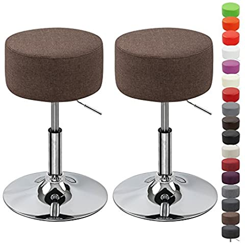 WOLTU BH62br-2 Round Bar Stool Set of 2 Height Adjustable Kitchen Stool with Linen Fabric Seat Brown