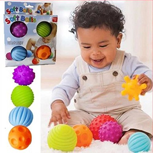 Fengh 4pcs Funny Sensory Ball Baby Hand Catch Massage Sensory Ball with Sound Effect Toy for Baby