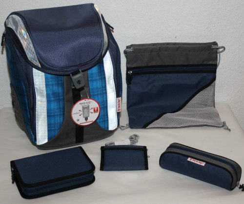 Preisvergleich Produktbild Step by Step Flexline Ranzenset 5-tlg. Ultra Blue Checked - blau kariert