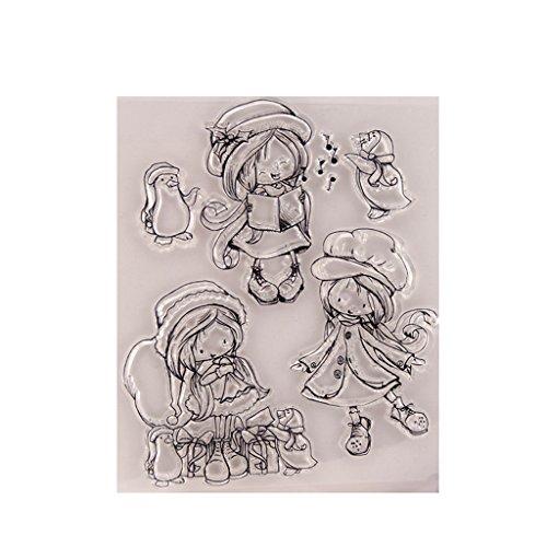 ECMQS Singing Girl DIY Transparente Briefmarke, Silikon Stempel Set, Clear Stamps, Schneiden Schablonen, Bastelei Scrapbooking-Werkzeug