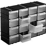 Kigima Sortierkasten Kleinteilemagazin 16 Fächer 22x15x8cm Schwarz