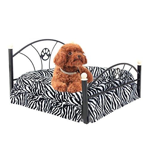 Pet Betten Hund / Katze Bett weich warm Hundehütte Pet Kissen gehobenen Metallrahmen Zebra-Streifen Matratze Bett (Zebra) Süß und Mode ( Color : Zimbra ) (Gehobene Kleid)