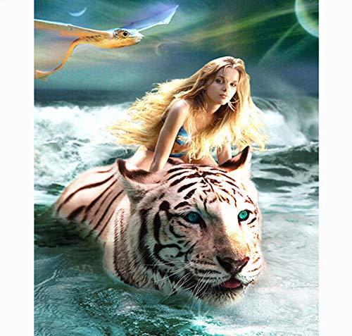 (CNLSZM 5d DIY voll Platz Wasser Tiger & fee Diamant malerei mosaik Decor Diamant Stickerei kreuzstich Decor 50x60cm)