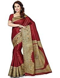 Ishin Women's Silk Saree With Blouse Piece (Swayasrk-Kalamkaarisilkmaroon, Maroon, Free Size)