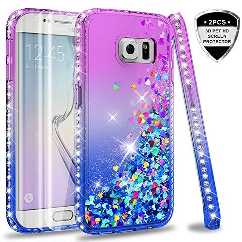 LeYi Coque Galaxy S6 Edge avec 3D Pet Protection écran [Lot de 2], Fille Personnalisé Liquide Paillette Transparente 3D Silicone Gel Antichoc Kawaii Étui pour Samsung Galaxy S6 Edge G925F Violet Bleu
