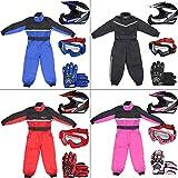 Leopard LEO-X19 Azul Casco de Motocross para Niños (S 49-50cm) + Gafas + Guantes (S 5cm) + Traje de Motocross para Niños - S (5-6 Años)
