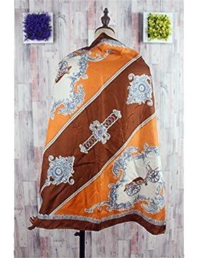 Ding Decoration Bufandas De Seda Vintage Chales Mujeres Lado Toalla Salvaje (802 * 80 Cm), 24