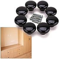 8 Europe Ceramic Porcelain china Vintage Round Style Bedroom Door Cabinet Cupboard Drawer Knob Pull Handle Black
