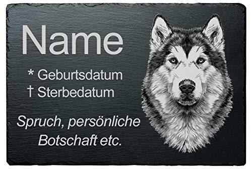 Personalisierte Gedenktafel Grabstein Grabplatte Hund Schiefer »Husky« wetterfeste Lasergravur, Wunschname + Datum + Trauerspruch direkt Hier auf Amazon eingeben, 20x30 cm, Schneller Versand