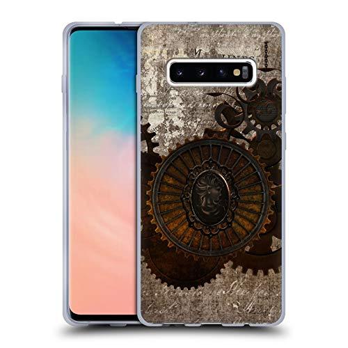 Head Case Designs Offizielle Simone Gatterwe Brief Steampunk Soft Gel Huelle kompatibel mit Samsung Galaxy S10+ / S10 Plus -
