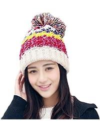 Fablcrew Sombrero de Punto de Invierno de Mujer Orejas Protegidas Beige 437a30ad729