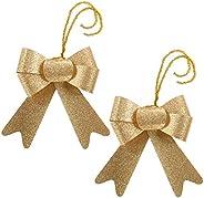 WeRChristmas - Fiocco glitterato, 15 cm, 2 pezzi, colore: oro