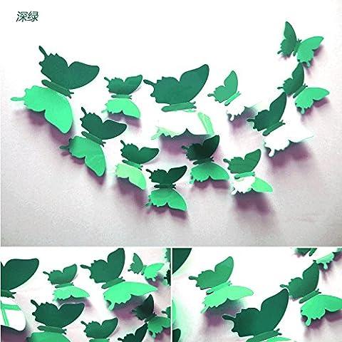 3D stereo simulazione parete Butterfly decorativi adesivi soggiorno camera da letto mobile porta TV in vetro a parete magneti da frigorifero,verde