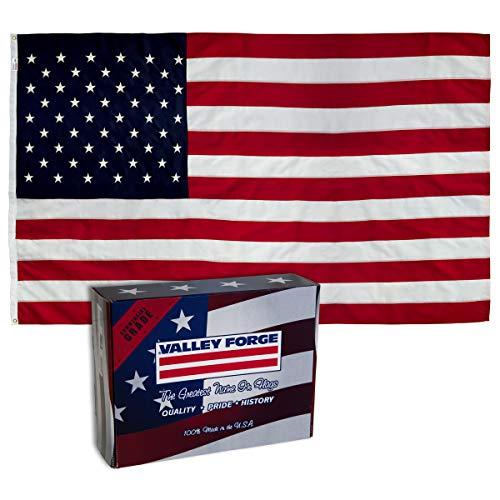 Valley Forge, Amerikanische Flagge, Nylon Perma-NYL, 100% Made in USA, robuste Messingösen, genähte Streifen und bestickte Sterne 4'x6' American