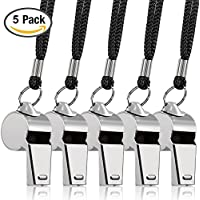 5 Packs Edelstahl Whistle, FineGood Loud Metal Pfeife mit Lanyard für Schiedsrichter Trainer Lifeguards Überleben Emergency Football Basketball Fußball Hockey