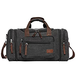 Canvas Duffle Bags, Fresion New Two Side Pockets for Extensions for Unisex Weekend Daypack Large Holdall Travel Bag (Black)