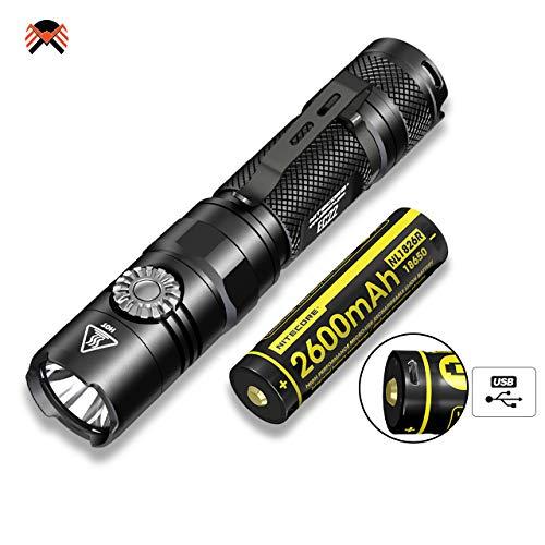 Taschenlampe LED Super Hell - NITECORE EC22 Ultraleicht Taschenlampe - 1000 Lumen Bescheinigt 500 Stunden IPX8 Wasserdicht mit Stufenloser Helligkeitseinstellung [ INKL. Akku mit Micro-USB ]