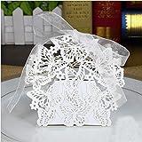 JZK® 50 x Schachtel Geschenkbox Gastgeschenk Kartonage klein Süßigkeiten Kartons Bonboniere Kasten, Tischdeko Favours Box für Hochzeit Geburtstag Taufe Party (Schmetterlinge Schachtel)