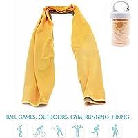 NHsunray Toalla de Enfriamiento Instantáneo Microfibra Deportes Secado Rápido Malla Transpirable para la prevención de la insolación Gimnasio Playa Ciclismo Runing y Otros Deportes (Naranja)