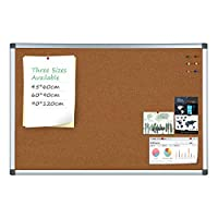 Cork Board 4 Thought Home Bulletin Board Notice Board (45 * 60cm) Aluminum Frame Wall-Mounted with 6 Push Pins Excellent for Children Home School and Office(45 * 60 Without Hook)